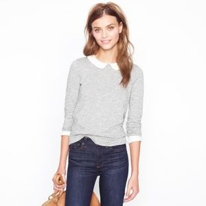 J. Crew Grey Knit Cream Silk Collar & Cuffs Tee